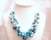 """Pearl Cluster Necklace Set in """"Shades of Blue"""" - Chunky, Choker, Bib, Necklace, Wedding, Bridal, Bridesmaid, Prom"""
