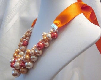 Pearl Cluster Necklace with Satin Ribbon- Shades of Orange - Chunky, Choker, Bib, Necklace, Wedding, Bridal, Bridesmaid, Prom, Formal