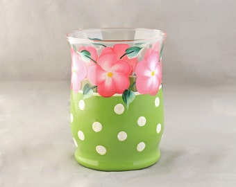 Hand Painted Candle Holder, Green  Polka Dot