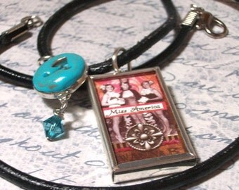 Necklace Personalized Beautiful Miss Americal pinup charm necklace with a clay initial charm with a Swarovski turquois colored crystal bead