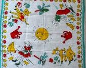 Child's Vintage Gardening Hankie 1930s Handkerchief - Farm Chickens Lamb Sun Cow Boy Girl -B6
