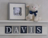 Navy Grey Nursery Furniture Mantle Name Shelves - Personalized Baby, White or (Off White) Floating Shelf / Gray and Navy Wall Letters