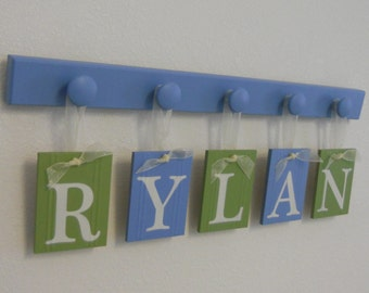 Custom Nursery Letters - Baby Name Wall Hanging - Personalized for RYLAN with 5 Wooden Pegs Blue and Green