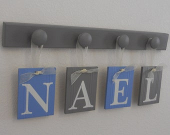 Childrens Personalized Decor Name Signs Includes 4 Grey Peg Hooks and Babies Name NAEL in Light Blue and Gray