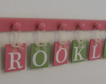 Child Wooden Alphabet Letter - Personalized for BROOKLYNN with 9 Wooden Wall Letters Plaques  Pink and Green