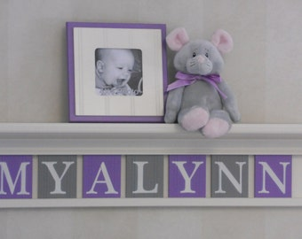 """Baby Girl Name Sign Nursery Decor 30"""" Linen Off White Shelf with 7 Letter Wooden Tiles Painted Purple and Gray - MYALYNN"""