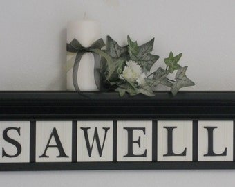 Custom FAMILY Wall Art - NAME Signs Black Shelf with Wooden Letter Tiles Painted Black Personalized Gifts