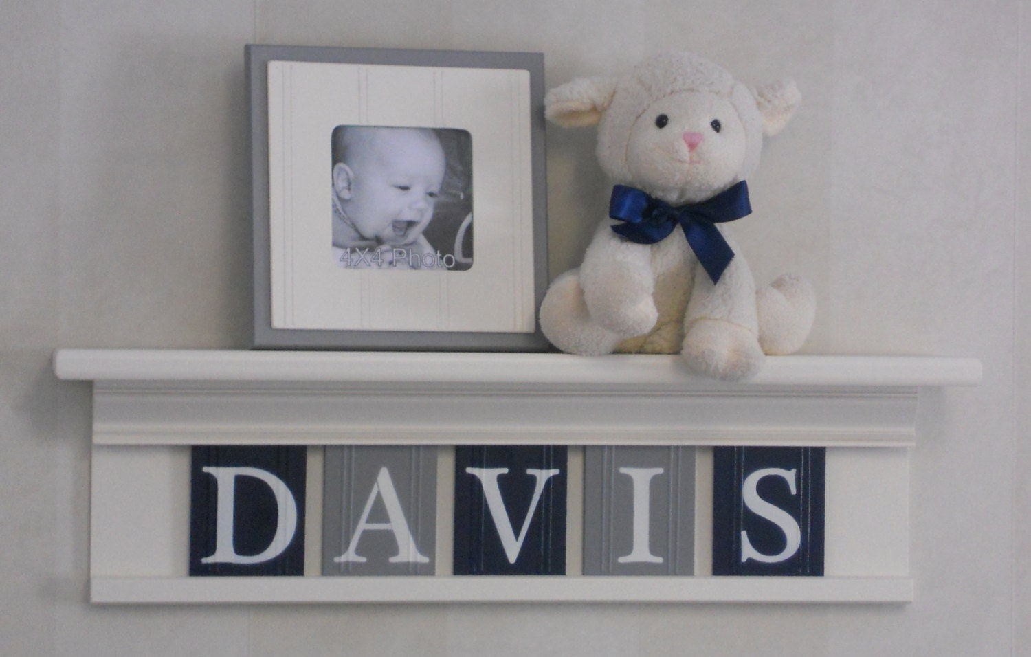 Navy Grey Nursery Furniture Mantle Name Shelves Personalized