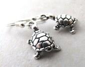 Turtle Earrings, Silver Turtle, Sea Turtle, Tortoise Earrings