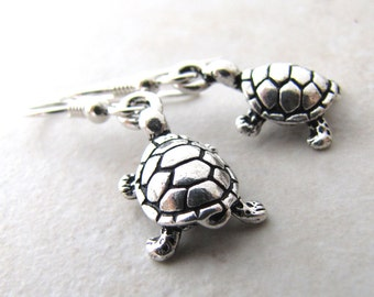 Turtle Earrings, Silver Turtle, Sea Turtle, Tortoise Earrings