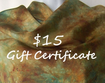 Gift Certificate - 15 USD - the perfect gift  when you can't decide - yarn for the knitter, scarves for that special lady