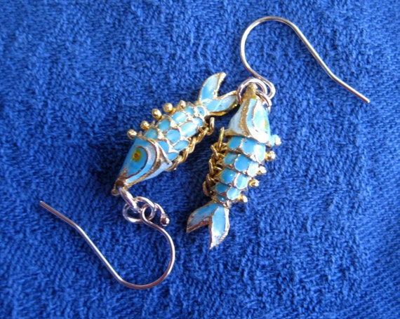 Tiny Wiggly Fish Earrings in Cloisonne & 14k Gold Filled