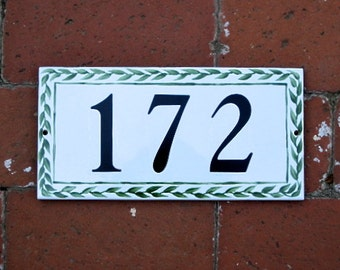 GREEN LEAF Custom Tile House Number,House Numbers, Address Plaque,Address Tiles