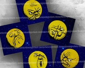 Man In The Moon Moonfaces Vintage Starry Night Faces Victorian Decoupage Digital Collage Sheet Printable Instant Download 034