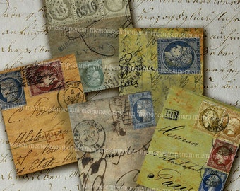 Shabby Chic Paris Envelopes France Stamps French Writing Handwriting Decoupage DIY Craft Printable Digital Collage Sheet Download 247