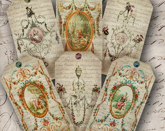 Shabby Chic French Antique Hang Gift Swing Tags Painted Panels Handwriting Digital Collage Sheet Download 086