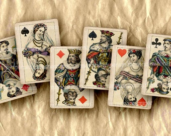 Antique Playing Cards Shabby Chic Royals Jack Queen King Decoupage DIY Scrapbook Tags Digital Collage Sheet Instant Download 276