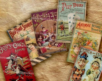 Childrens Storybook Covers Antique Story Book Kids Adventure Picture Book Digital Collage Sheet Download 175