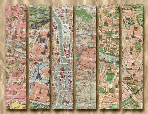 Vintage Paris Street Maps Bookmarks Monuments Buildings Tag Backgrounds Book Mark Shabby Chic Printable Decoupage Retro Digital Download 219