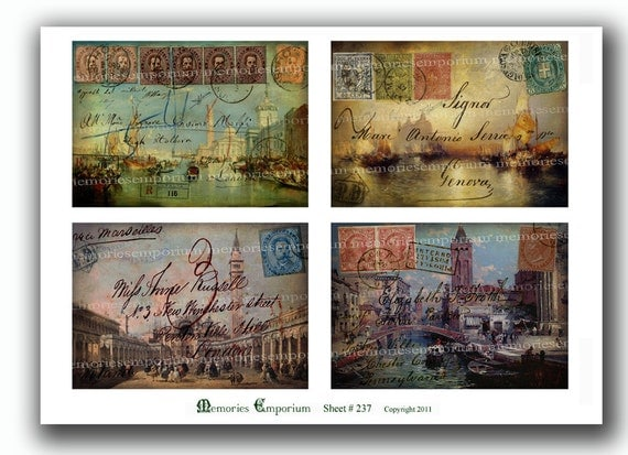 Shabby Chic Venice Postcards Canal Decoupage Italy Postage Stamps Handwriting Printable Digital Collage Sheet Instant Download 237