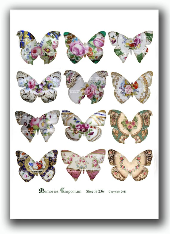 Butterfly Shape Silhouettes from Floral Cups and Saucers Decoupage Antique Cutout Digital Collage Sheet Printable Instant Download 236