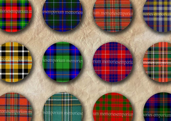 Plaid Tartan Circles Digital Collage Sheet One Inch Buttons Bezels Bottlecaps Inchies Rounds Download Printable Instant Download 085