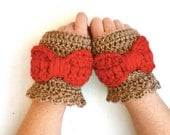 Crochet Fingerless Mittens Big ol' Bow - MADE to Order - Adult Size