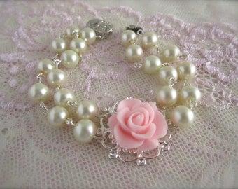 Pink Bracelet ivory pearls bracelet pink wedding Pink flower cuff bracelet bridesmaid gift Vintage style Elegant Traditional victorian