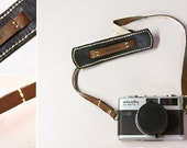 Classic leather camera strap - brown and black