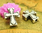 50 pcs Antique Silver Cross Beads Silver Beads Cross Charms 13x11mm CH1540