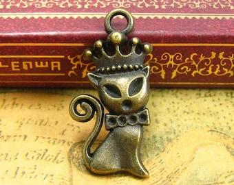 20 pcs Antique Bronze Cat Charms 26x15mm CH1341