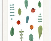 ladybug garden nursery print - 8.5x11 inch art print for baby, kids, children. Green, white, red ladybug and garden leaf springtime design.