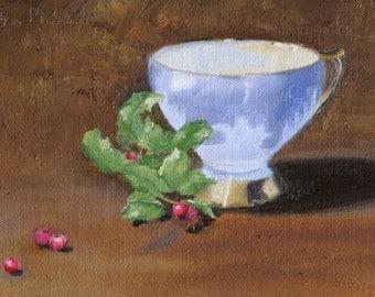 Berries and Tea - Original Oil Painting