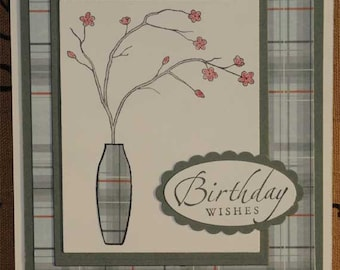 Birthday Cards Set of 5 Flower and Vase Paper Piecing