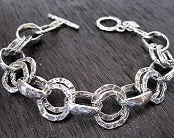 Rustic Handmade Textured Chunky Link Bracelet in Sterling Silver (B18)
