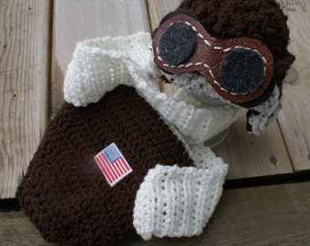 Crocheted  Aviator Set Hat (2 Hats in One, Goggles, Diaper Cover and scarf).  0 - 3 months only.  FREE shipping. Baby Aviator Hat, handmade