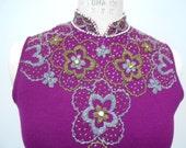 Vintage 1960s dress purple knit wiggle sheath manadarin style