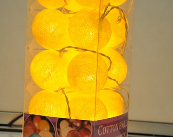 Special Edition 20 Jumbo Yellow cotton ball string lights Assembled set