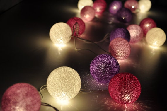 35 Bulbs Purple tones cotton ball string lights for Patio,Wedding,Party and Decoration