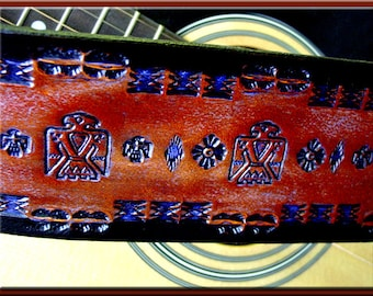THUNDERBIRD Design #1 • A Beautifully Hand Tooled, Hand Crafted Leather Guitar Strap