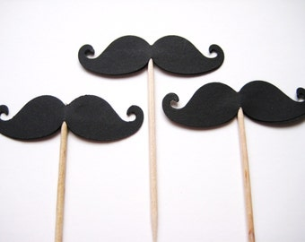 24 Mustache Party Picks - Cupcake Toppers - Toothpicks - Food Picks - die cut punch FP314