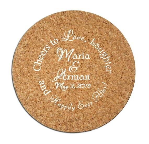 Wedding Cork Coaster: 500 Wedding Favor Custom Personalized Cork Coasters