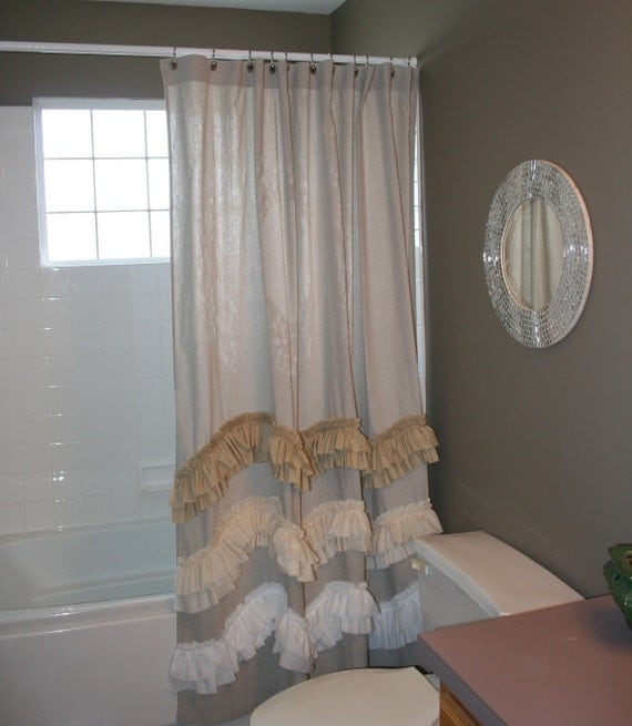 inspired wave shower curtain farmhouse style drop cloth with vintage ombre ruffles in tea dyed