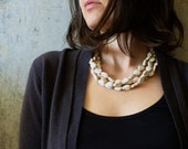 SNOW. white turquoise necklace. multi strand. teardrop magnesite stones. peach. taupe. charcoal. statement piece.