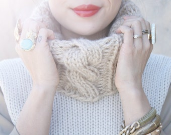 Cable Knit Cowl Knitting Pattern - PDF Downloadable Pattern, Digital Pattern - DIY Tutorial Knit Neckwarmer Snood Cowl Scarf