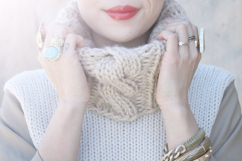 Knitting Pattern Cable Knit Cowl Vest : Cable Knit Cowl Knitting Pattern PDF Downloadable Pattern