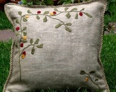 """hand embroidered pillow 18"""" ( coral, olives, tassels , tree )"""
