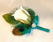 Peacock Wedding Boutonniere, White Rose Bud, Peacock Eye Feather and a Peacock Sword Feather
