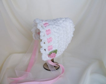 Crochet Newborn Bonnet-Newborn Cap-Infant White Hat-Baby Photo Prop-Newborn