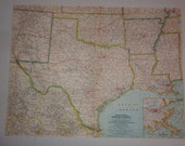 "Large Colorful Wall Map 24""x19"" South Central USA Texas Louisiana Arkansas Oklahoma Vintage 1961  National Geographic Folded"